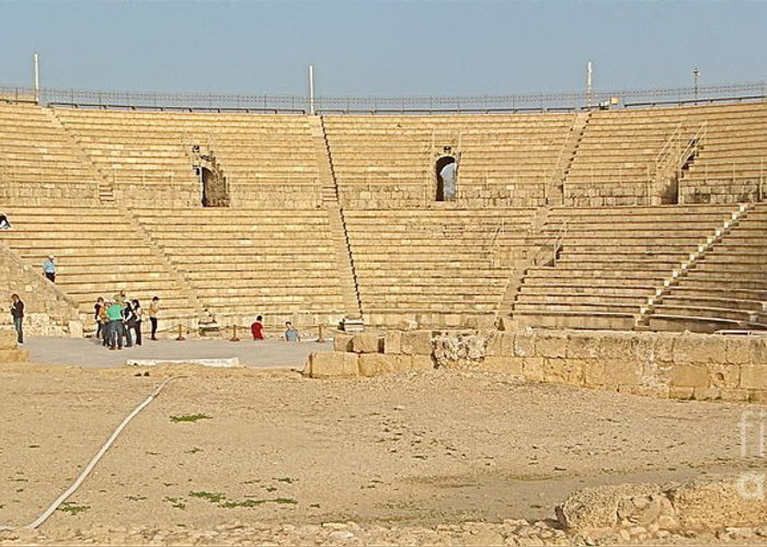 Caesarea Greeting Card featuring the photograph Caesarea Israel Ancient Colosseum by Robert Birkenes