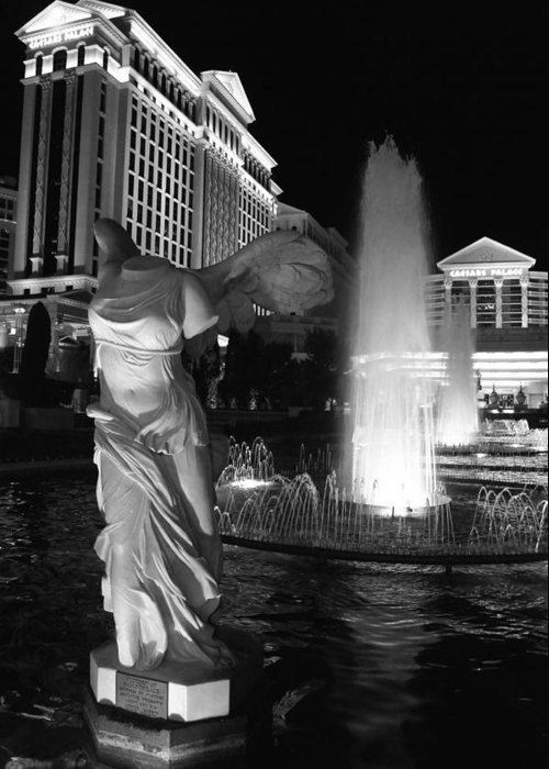 Caesars Greeting Card featuring the photograph Caesars Fountain Bw by Jenny Hudson