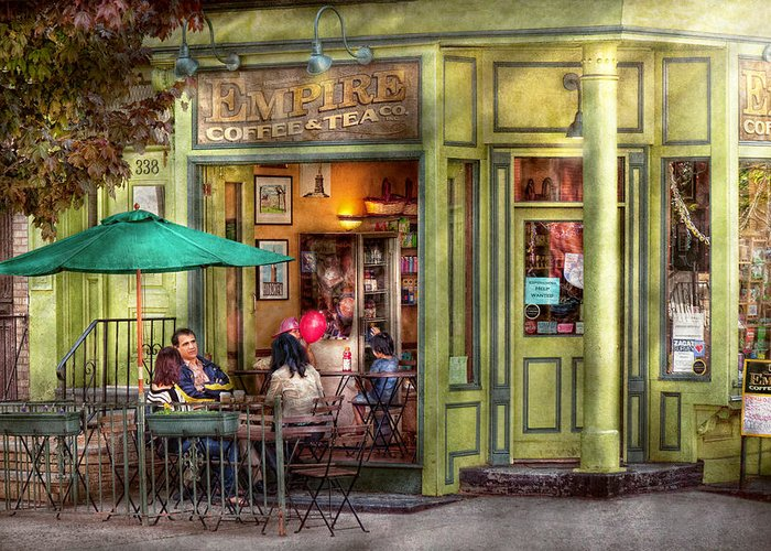 Hoboken Greeting Card featuring the photograph Cafe - Hoboken Nj - Empire Coffee And Tea by Mike Savad