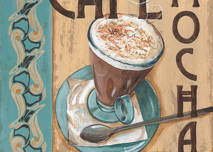 Food Greeting Card featuring the painting Cafe Nouveau 1 by Debbie DeWitt