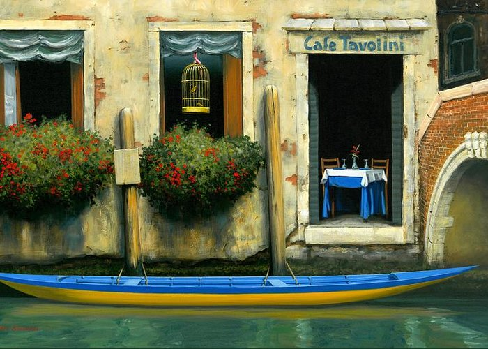 Canal And Gondola Greeting Card featuring the painting Cafe Tavolini by Michael Swanson