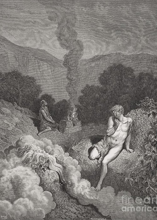 Brothers Greeting Card featuring the painting Cain And Abel Offering Their Sacrifices by Gustave Dore