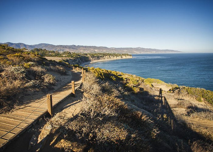 3scape Photos Greeting Card featuring the photograph California Coastline From Point Dume by Adam Romanowicz