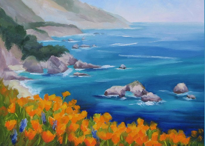 Big Sur Greeting Card featuring the painting California Poppies Big Sur by Karin Leonard