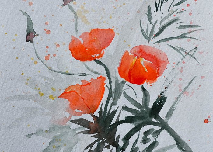 Poppy Greeting Card featuring the painting California Poppies Sumi-e by Beverley Harper Tinsley