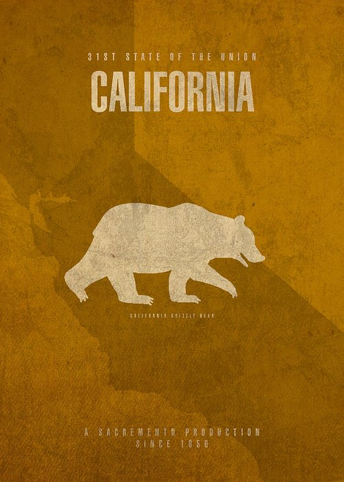 California Greeting Card featuring the mixed media California State Facts Minimalist Movie Poster Art by Design Turnpike