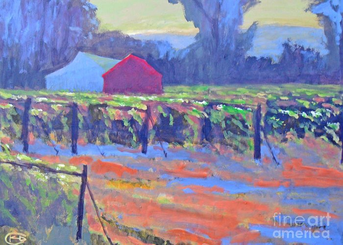 Vineyard Greeting Card featuring the painting California Vineyard by Kip Decker