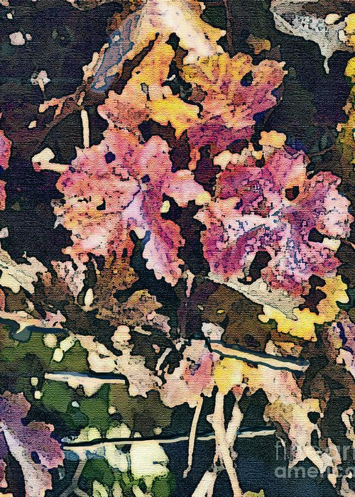 Corde Valle San Martin Ca Greeting Card featuring the painting California Vineyard Series Fall Grape Leaves by Artist and Photographer Laura Wrede