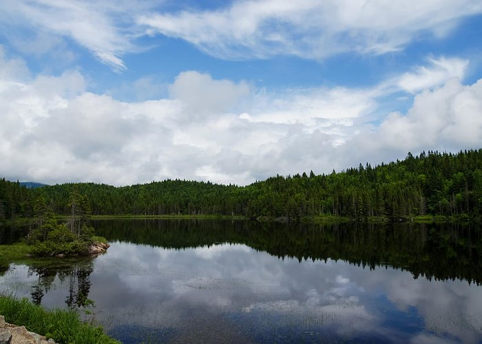 Calm Lake Greeting Card featuring the photograph Calm Lake - Turbulent Sky by Georgia Mizuleva
