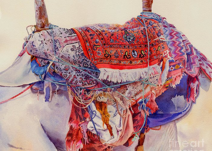 Camel Greeting Card featuring the painting Camel Saddle by Dorothy Boyer