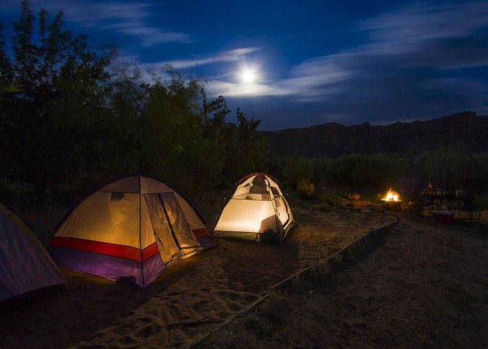 3scape Photos Greeting Card featuring the photograph Campfire And Moonlight by Adam Romanowicz