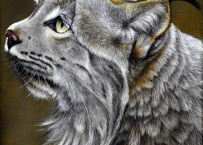 Lynx Greeting Card featuring the painting Canadian Lynx by Jurek Zamoyski