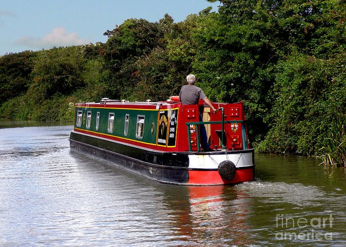 Canal Greeting Card featuring the photograph Canal Boat by Terri Waters