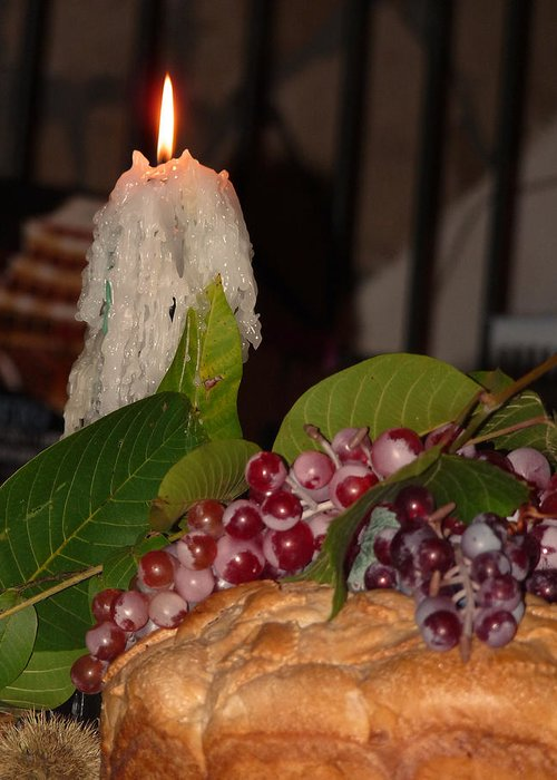 Candle Greeting Card featuring the photograph Candle And Grapes by Marcia Socolik