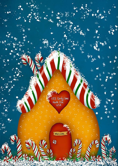 Gingerbread Greeting Card featuring the digital art Candy Lane by Brenda Bryant