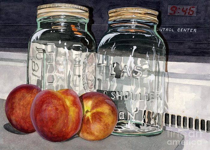Fruit Greeting Card featuring the painting Canning Time by Barbara Jewell