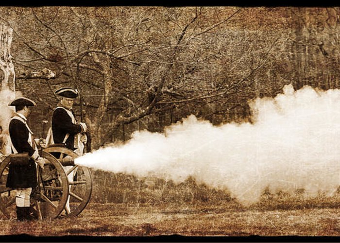 War Greeting Card featuring the photograph Cannon Fire by Mark Miller