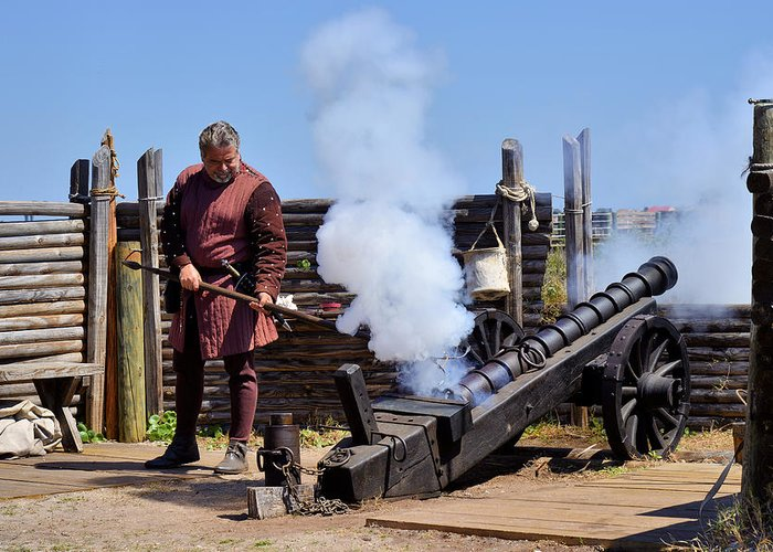 Saint Greeting Card featuring the photograph Cannon Firing At Fountain Of Youth Fl by Christine Till