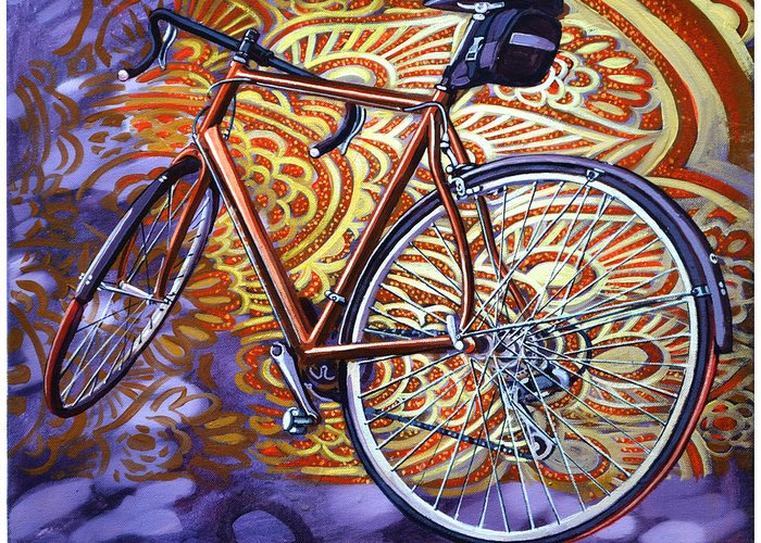 Bicycle Greeting Card featuring the painting Cannondale by Mark Howard Jones
