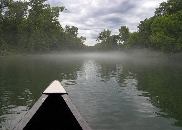 3scape Photos Greeting Card featuring the photograph Canoeing The Ozarks by Adam Romanowicz