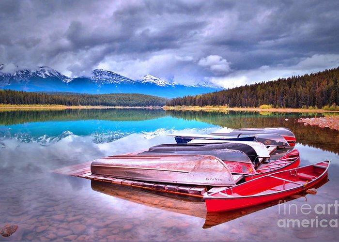Canoe Greeting Card featuring the photograph Canoes At Lake Patricia by Tara Turner