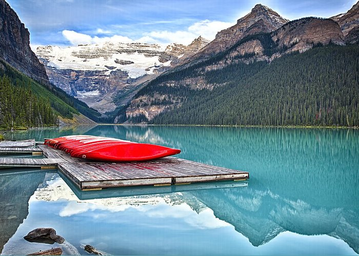 Alberta Greeting Card featuring the photograph Canoes Of Lake Louise Alberta Canada by George Oze