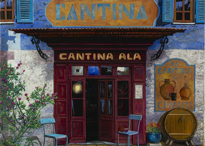 Cantina Greeting Card featuring the painting cantina Ala by Guido Borelli