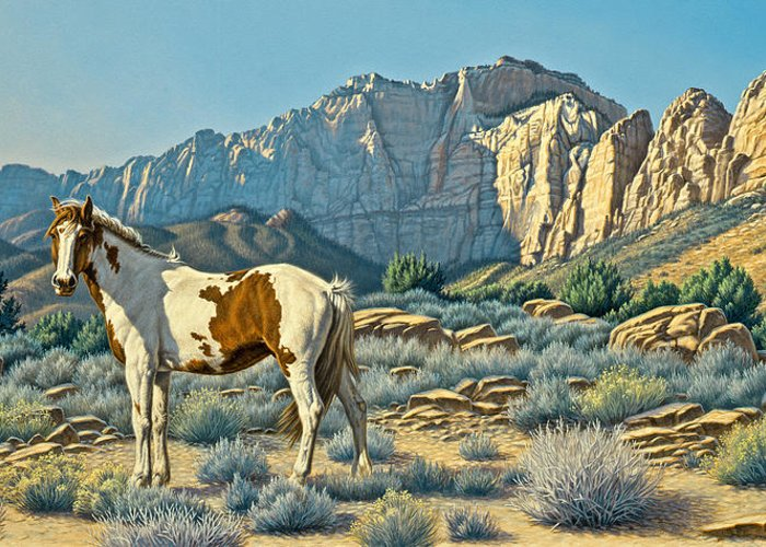 Landscape Greeting Card featuring the painting Canyon Country Paints by Paul Krapf