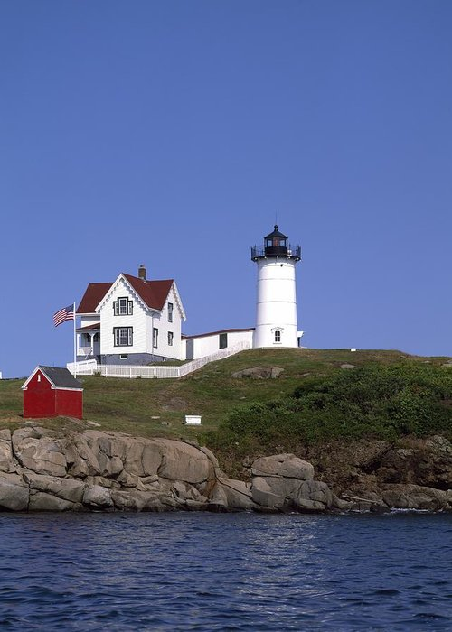 Cape Neddick Light Station Greeting Card featuring the photograph Cape Neddick Light Station In Maine by Mountain Dreams