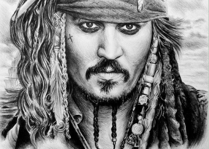 Andrew Read Greeting Card featuring the drawing Captain Jack Sparrow 2 by Andrew Read