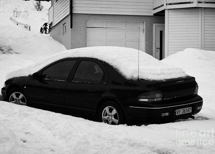 Car Greeting Card featuring the photograph Car Buried In Snow Outside House In Honningsvag Norway Europe by Joe Fox