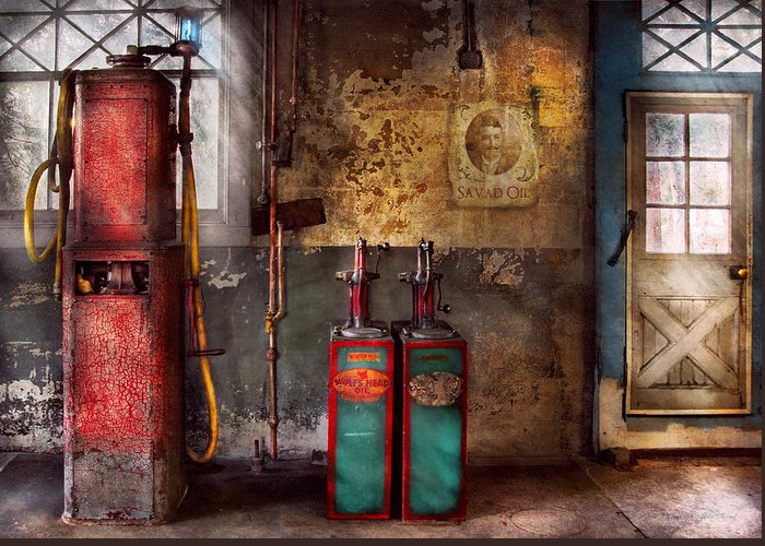 Savad Greeting Card featuring the photograph Car - Station - Gas Pumps by Mike Savad