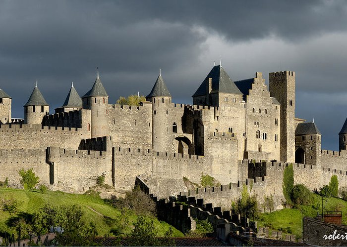 Carcassonne Greeting Card featuring the photograph Carcassonne Stormy Skies by Robert Lacy