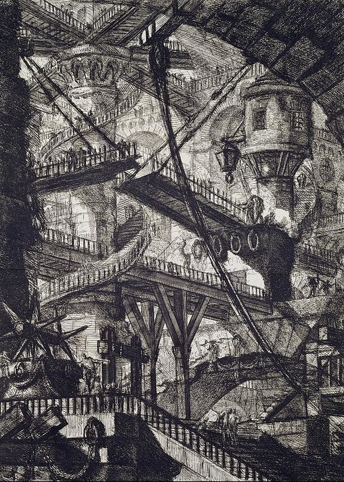 Prison; From The Carceri Series; Architectural; Architecture; Punishment; Jail; Gaol; Law And Order; Interior; Arch; Spiral; Staircase; Tower; Bridge; Pulley Greeting Card featuring the drawing Carceri Vii by Giovanni Battista Piranesi