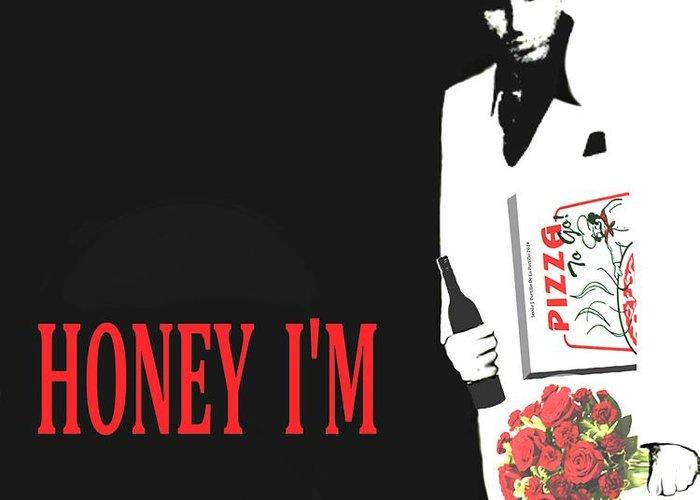 Pop Art Greeting Card featuring the digital art Carface Honey I'm Home by Jessie J De La Portillo