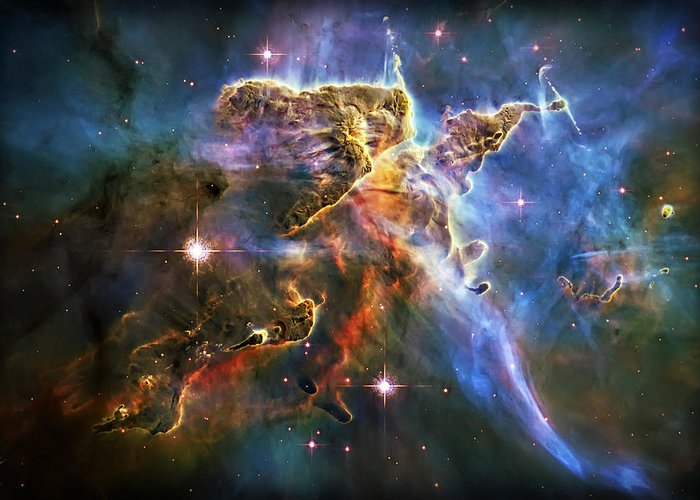 Universe Greeting Card featuring the photograph Carina Nebula 6 by Jennifer Rondinelli Reilly - Fine Art Photography