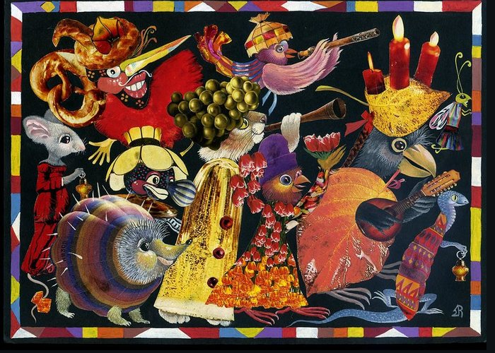 Jerusalem Greeting Card featuring the mixed media Carnival by Nekoda Singer