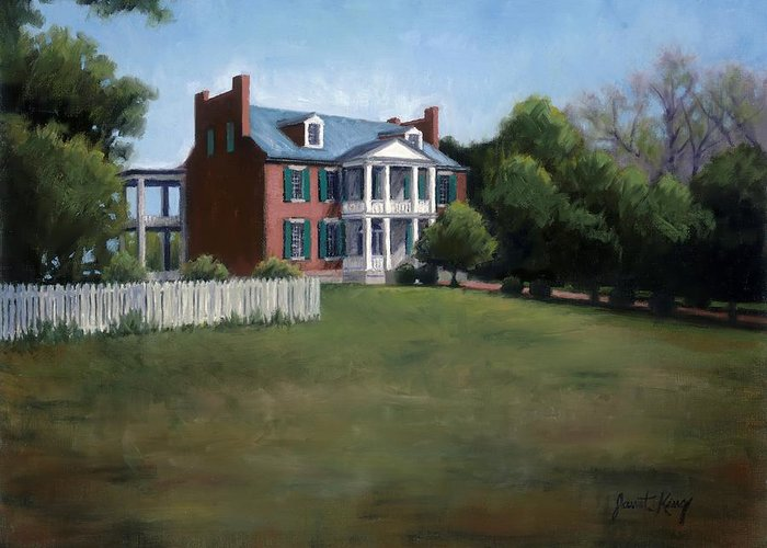 Carnton Plantation Greeting Card featuring the painting Carnton Plantation In Franklin Tennessee by Janet King