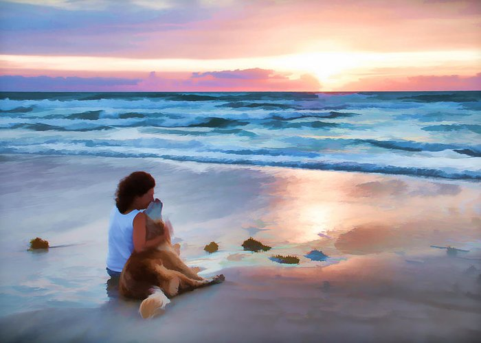 Sunrise Dog Lady Owner Love Ocean Waves Greeting Card featuring the photograph Caro Y Bella by Alice Gipson