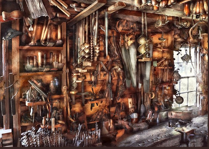 Suburbanscenes Greeting Card featuring the photograph Carpenter - That's A Lot Of Tools by Mike Savad