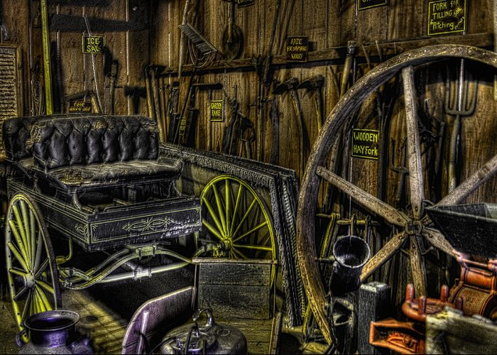 Antique Greeting Card featuring the photograph Carriage House by Jay Droggitis