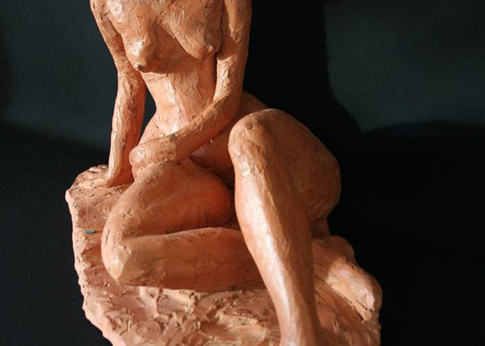 Fired Clay Sculpture Greeting Card featuring the sculpture Carrie - Front by Flow Fitzgerald