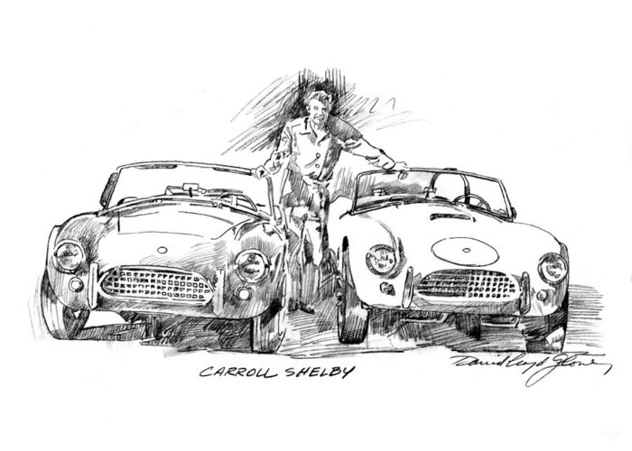 Carroll Shelby Greeting Card featuring the drawing Carroll Shelby And The Cobras by David Lloyd Glover