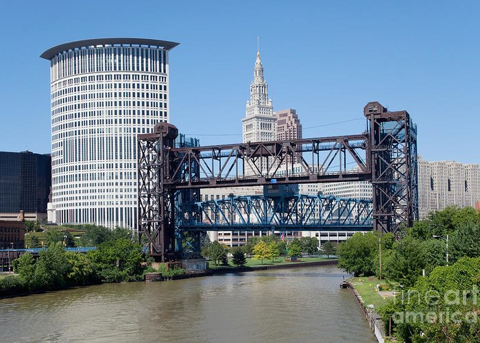 Cleveland Greeting Card featuring the photograph Carter Road Lift Bridge by Bill Cobb