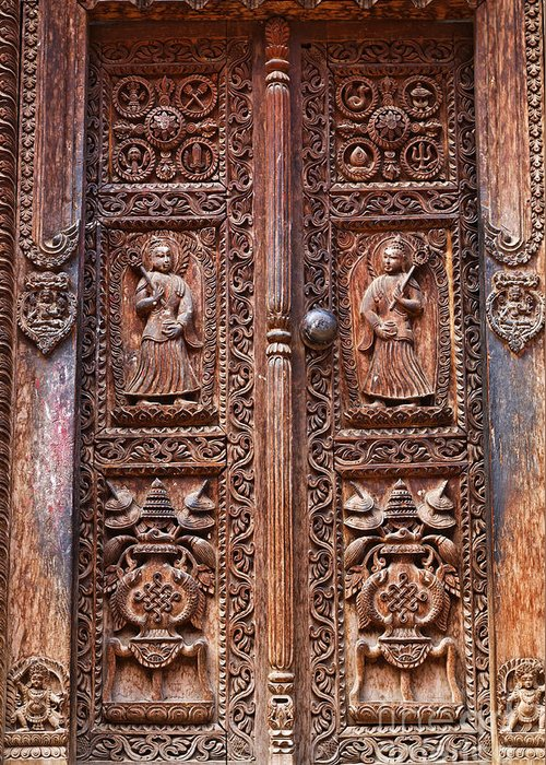 Bhaktapur Greeting Card featuring the photograph Carved Wooden Door At Bhaktapur In Nepal by Robert Preston