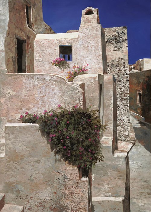 Landscape Greeting Card featuring the painting case a Santorini by Guido Borelli