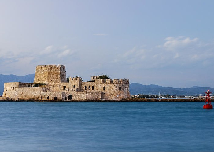 Nafplio Greeting Card featuring the photograph Castle Bourtzi And Buoy by David Waldo