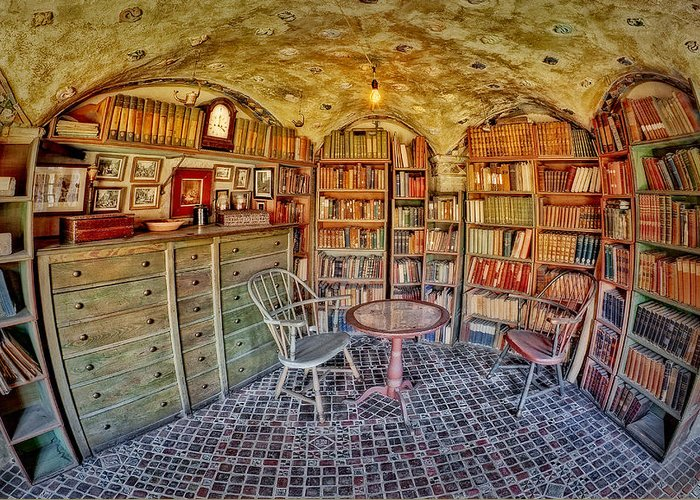 Byzantine Greeting Card featuring the photograph Castle Map Room by Susan Candelario