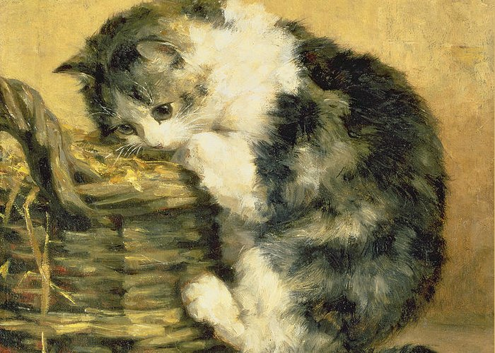 Cat Greeting Card featuring the painting Cat With A Basket by Charles Van Den Eycken