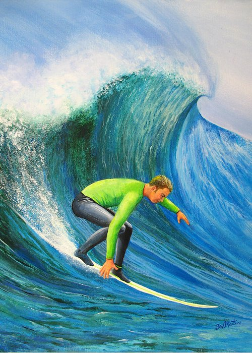Catch The Wave Greeting Card featuring the painting Catch The Wave by Bev Martin